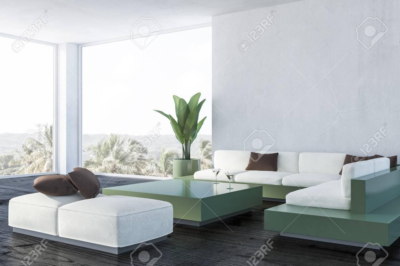 Corner of modern living room with white walls, dark wooden floor,..