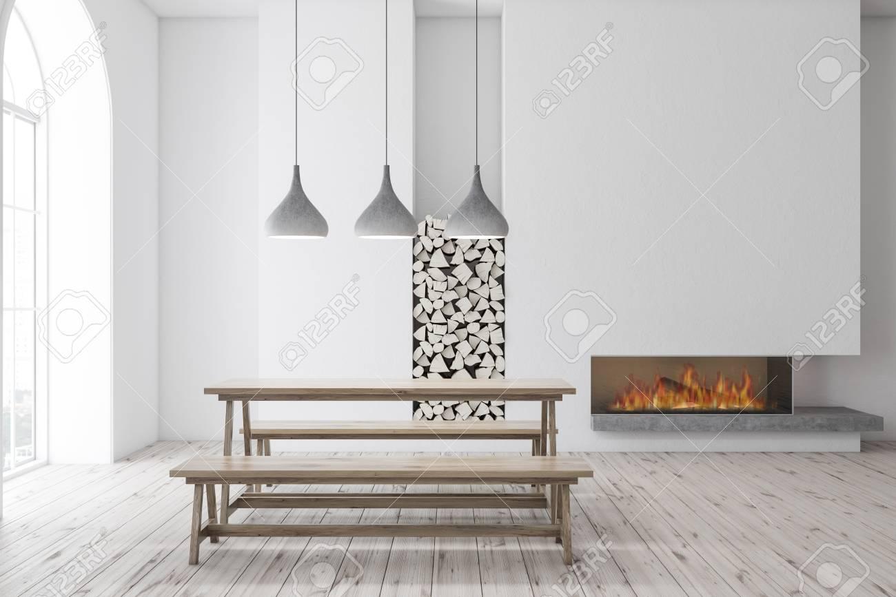 Brilliant Interior Of Modern Dining Room With White Walls Wooden Floor Spiritservingveterans Wood Chair Design Ideas Spiritservingveteransorg