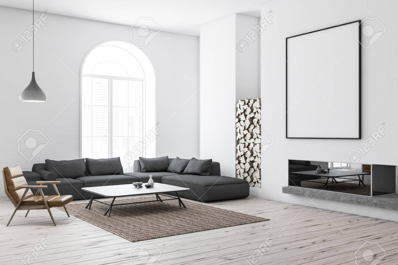 Corner Of Modern Living Room With White Walls, Wooden Floor,.. Stock Photo, Picture And Royalty Free Image. Image 111681930.