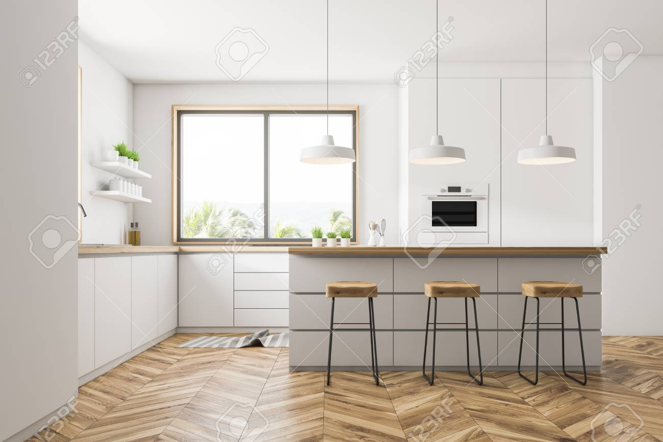 Interior of modern kitchen with white walls, wooden floor, small..