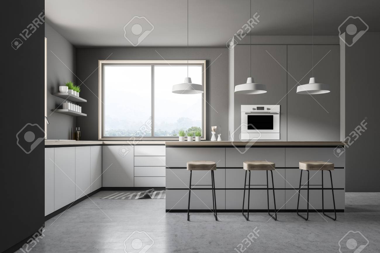 Interior Of Modern Kitchen With Gray Walls Concrete Floor Small