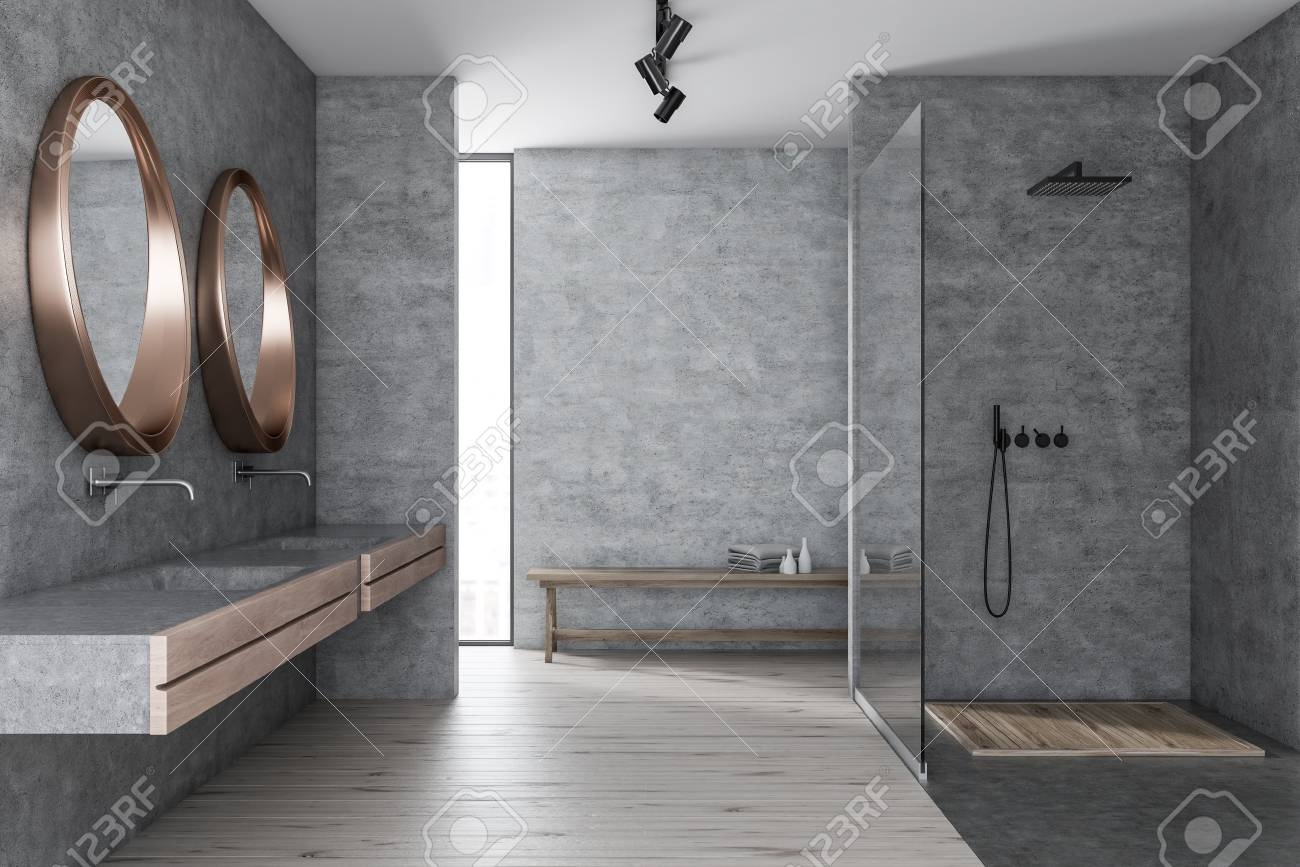 Merveilleux Interior Of Modern Bathroom With Concrete Walls, Wooden Floor, Shower Stall  With Glass Wall