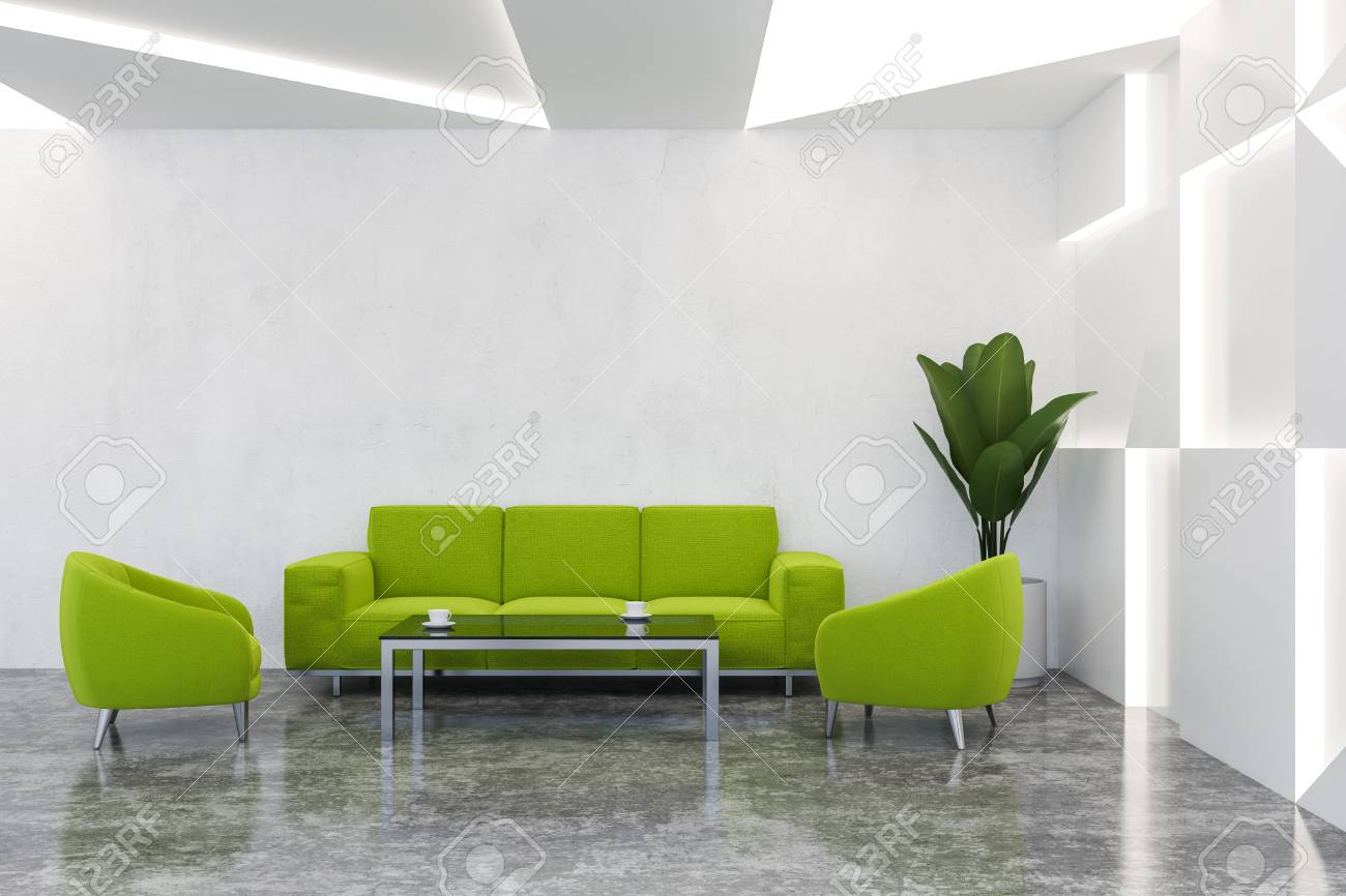 Modern office waiting room with white walls, concrete floor and..