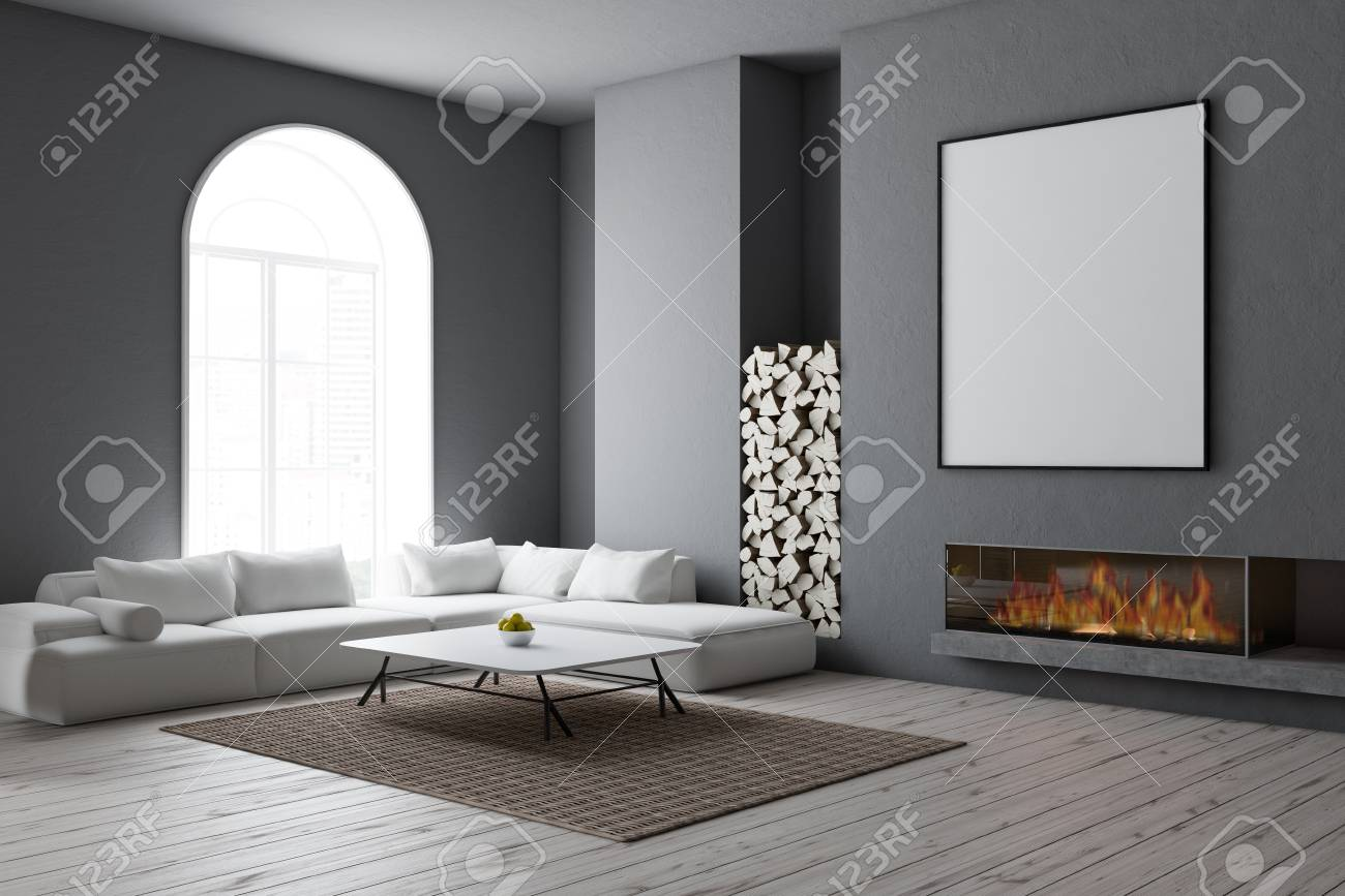 Admirable Corner Of Modern Living Room With Gray Walls Wooden Floor Arched Gamerscity Chair Design For Home Gamerscityorg