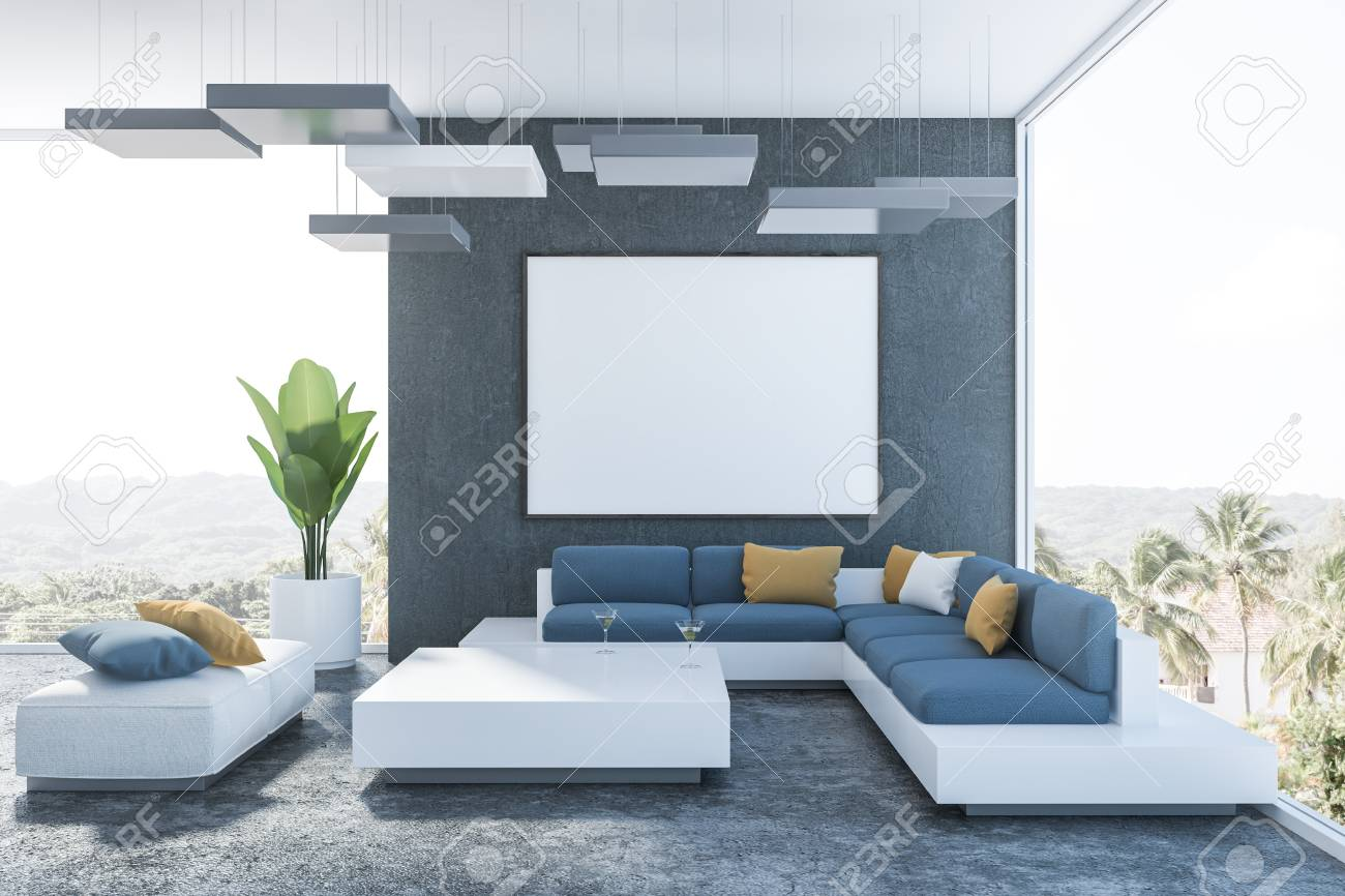 Interior of modern living room with black walls, concrete floor,..