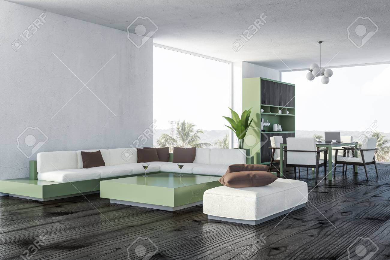 Corner Of Living Room And Dining Room With White Walls Wooden