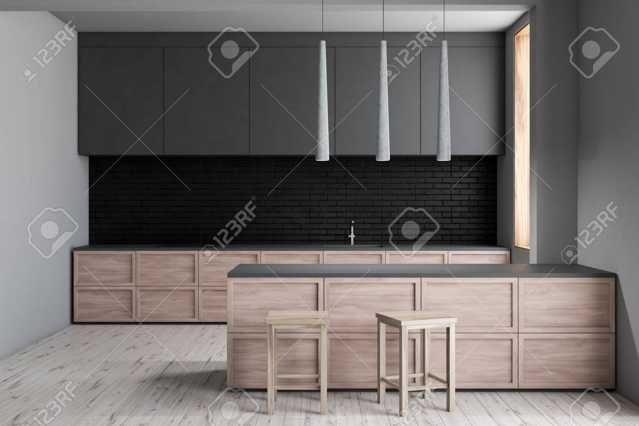 Interior Of Modern Kitchen With White And Black Brick Walls Stock