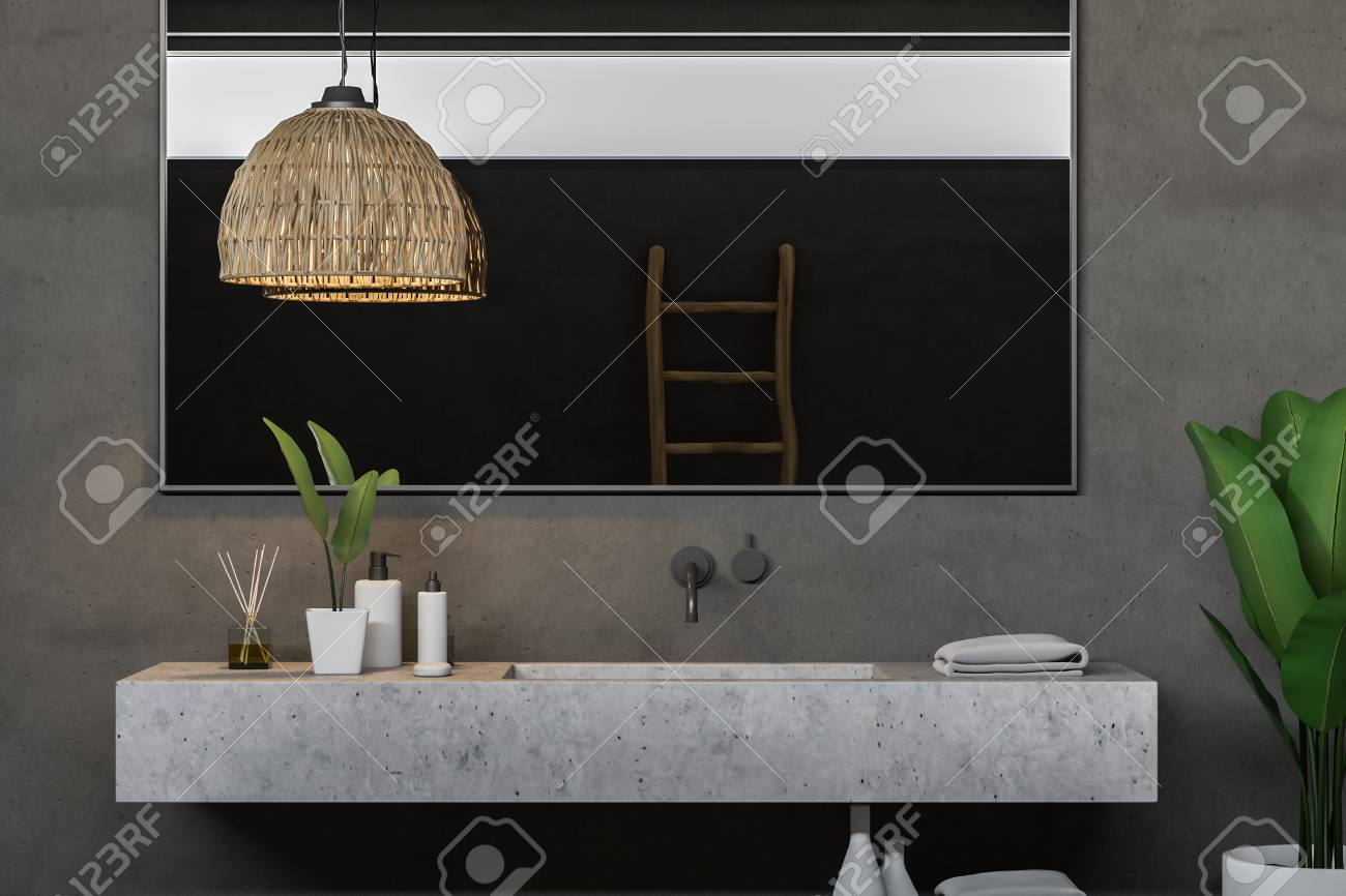 Close Up Of Long Stone Bathroom Sink With Horizontal Mirror Hanging Above It Standing In Modern Bathroom Interior With Gray Walls 3d Rendering Stock Photo Picture And Royalty Free Image Image 112602556