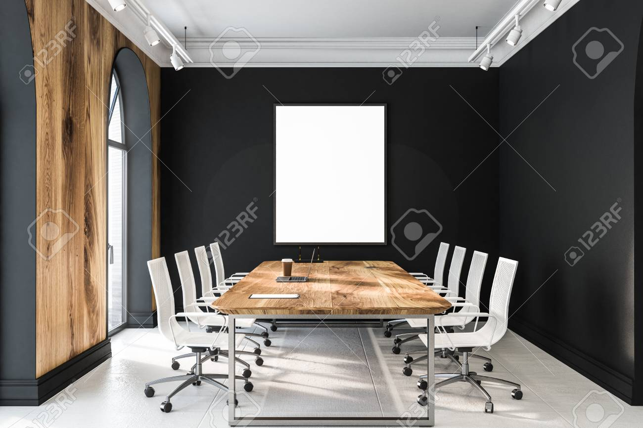 Modern office meeting room interior with black walls, tiled floor,..