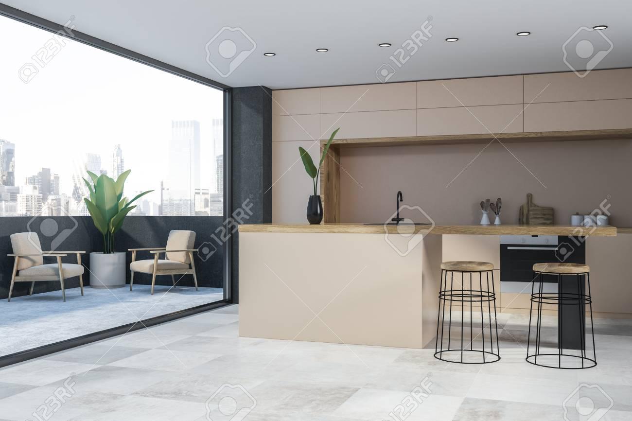 Corner Of Modern Kitchen With Beige Walls White Floor Beige