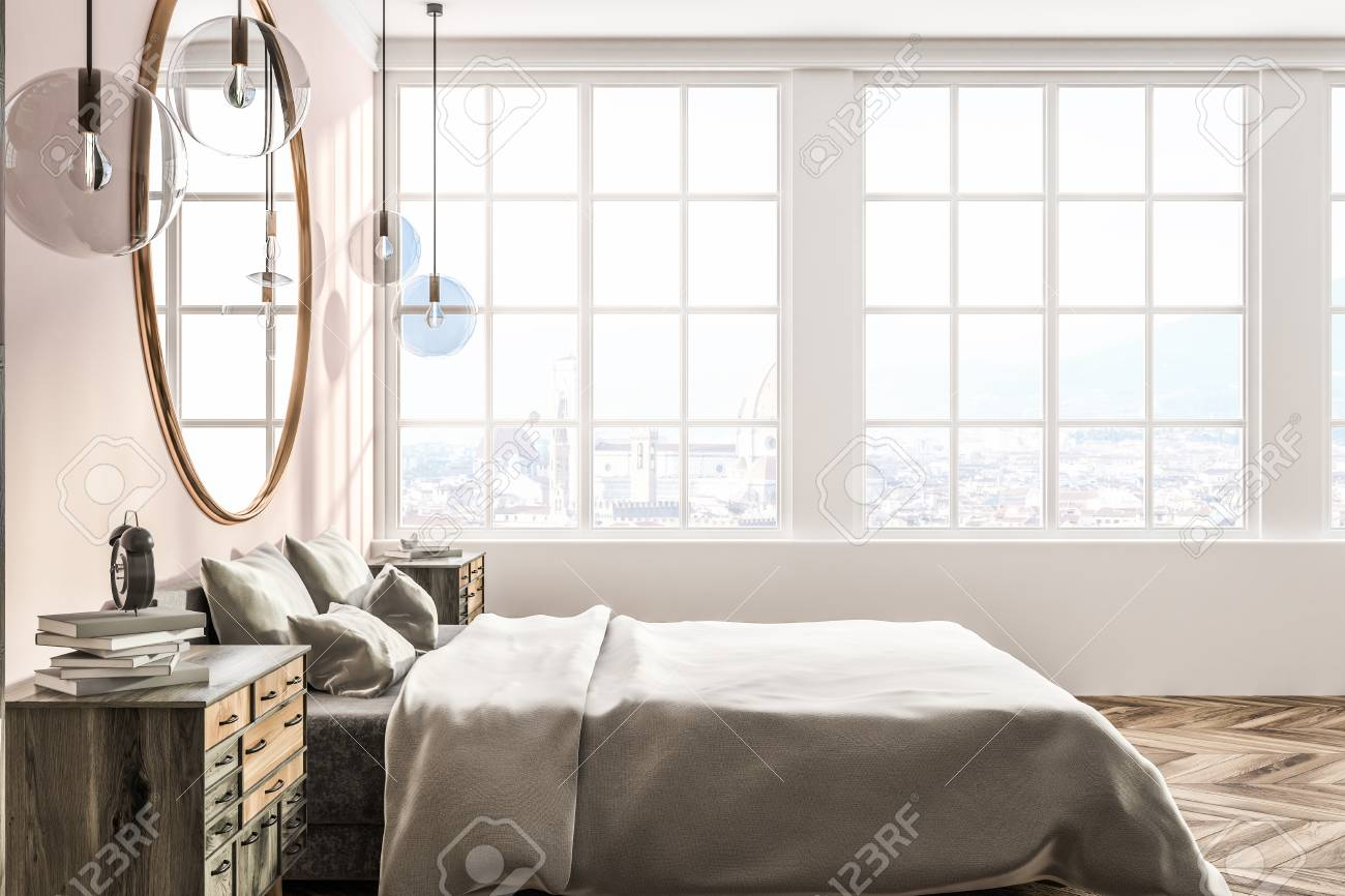 Side View Of Master Bedroom With White And Pink Walls Wooden