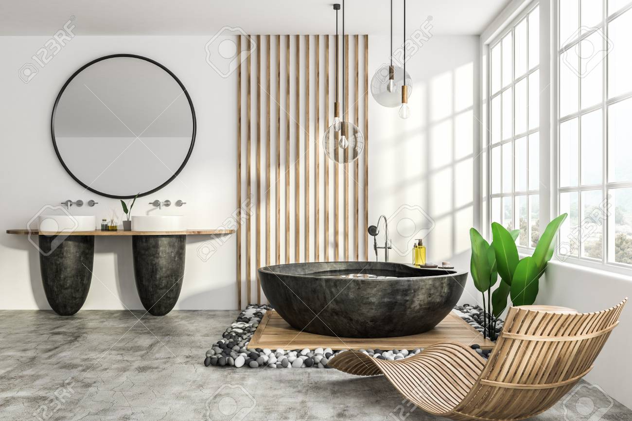 Interior Of Modern Bathroom With White And Wooden Walls Concrete Stock Photo Picture And Royalty Free Image Image 112603875