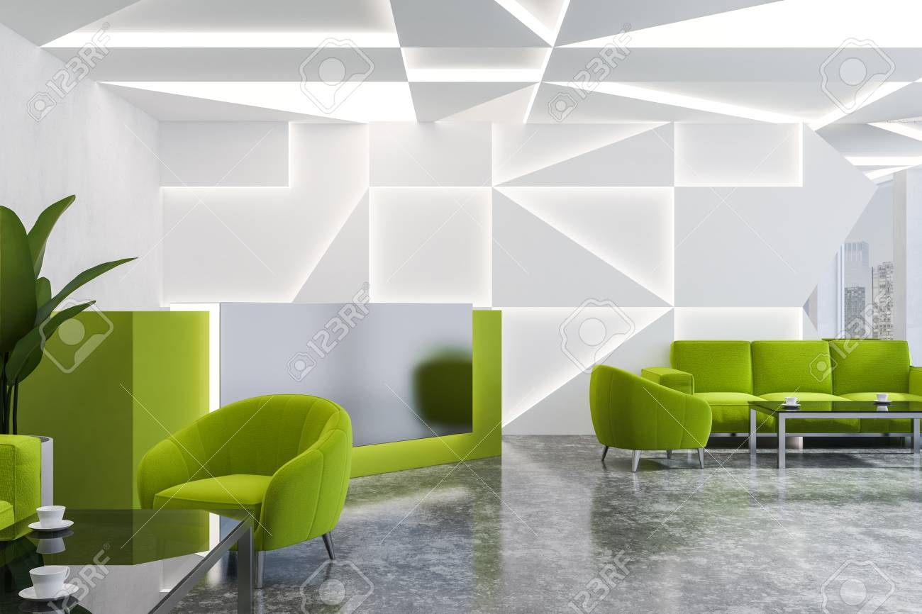 Corner Of Modern Office Reception Area With White Geometric Pattern ...