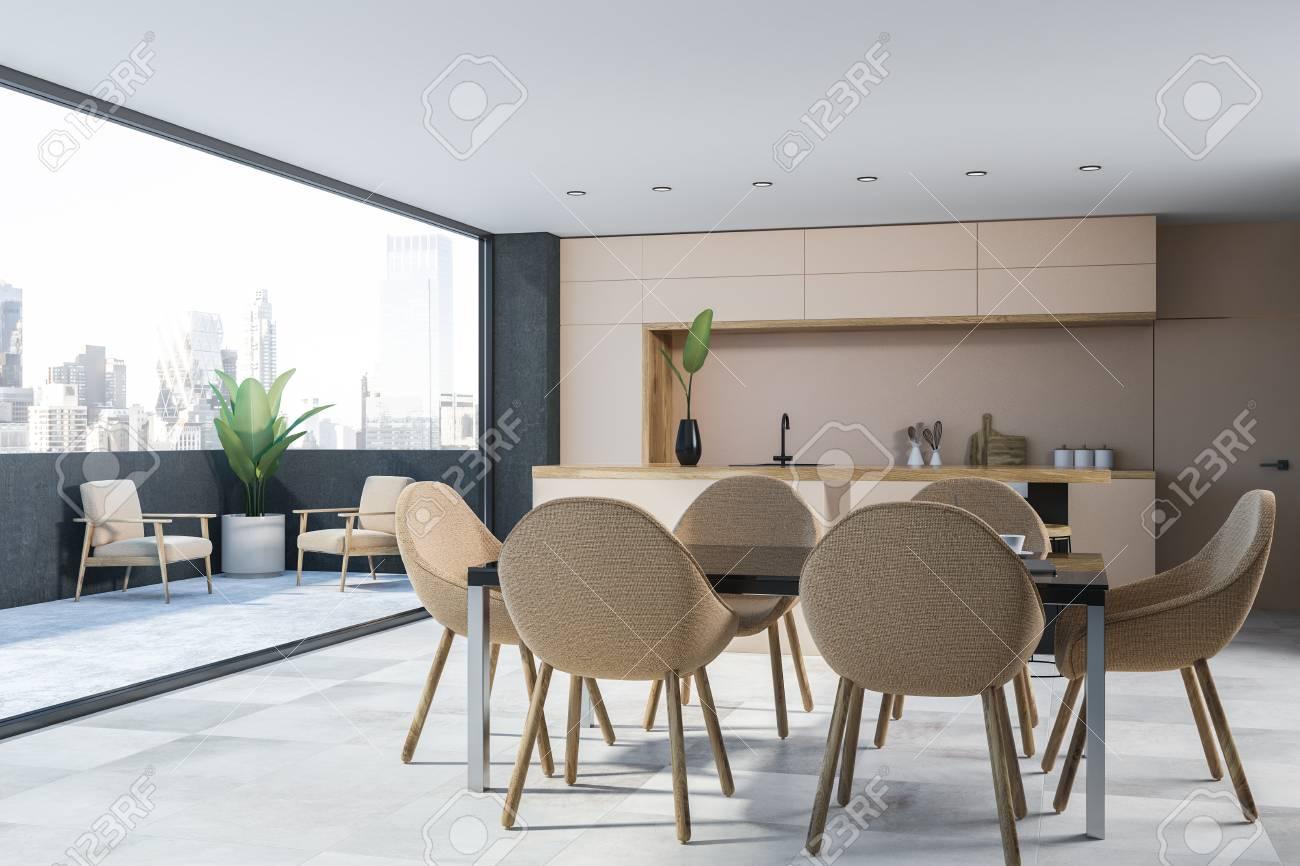 Corner Of Modern Kitchen With Gray Walls White Floor Beige Stock