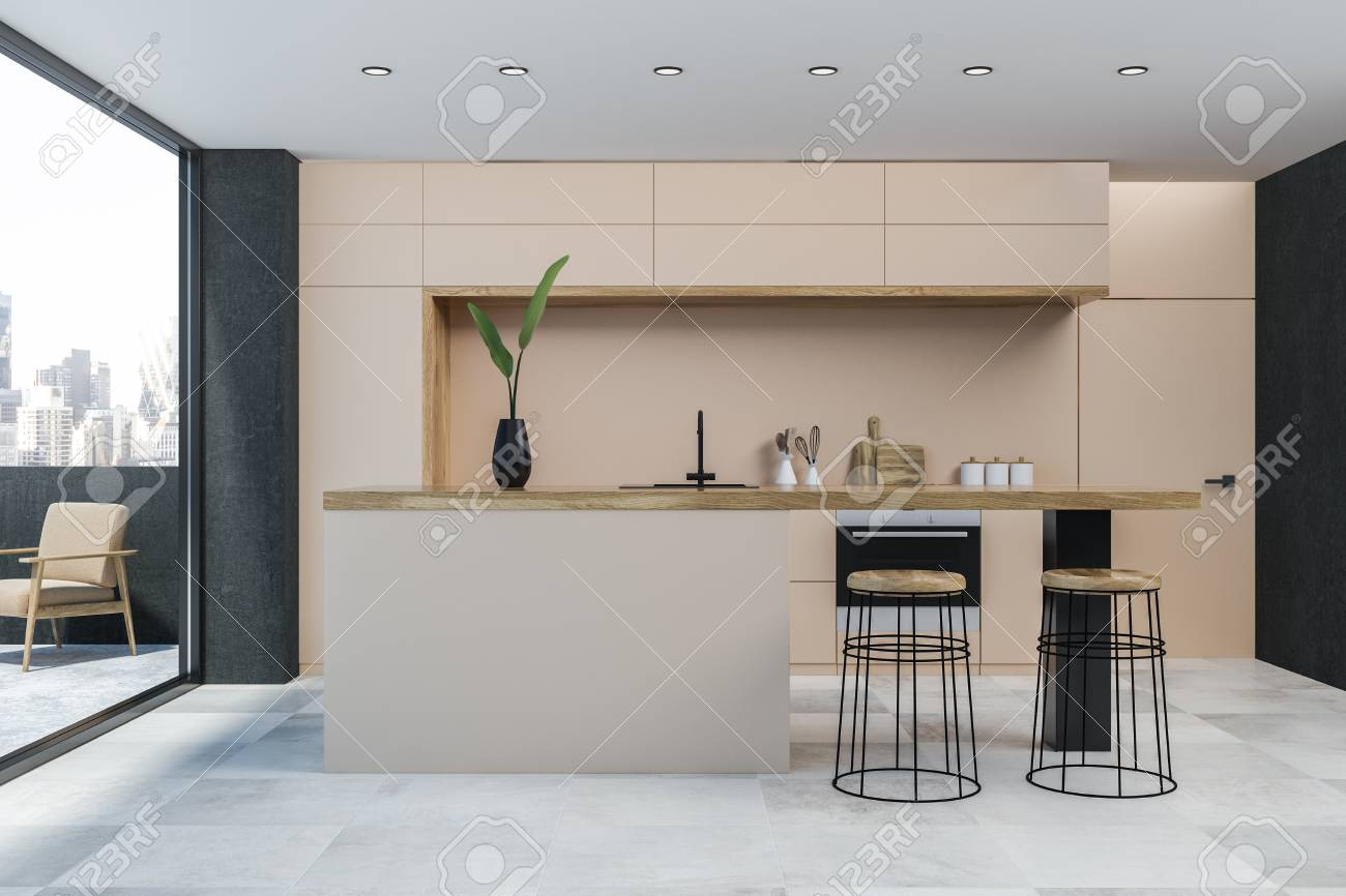 Interior Of Modern Kitchen With Beige Walls White Floor Beige Stock Photo Picture And Royalty Free Image Image 113583458