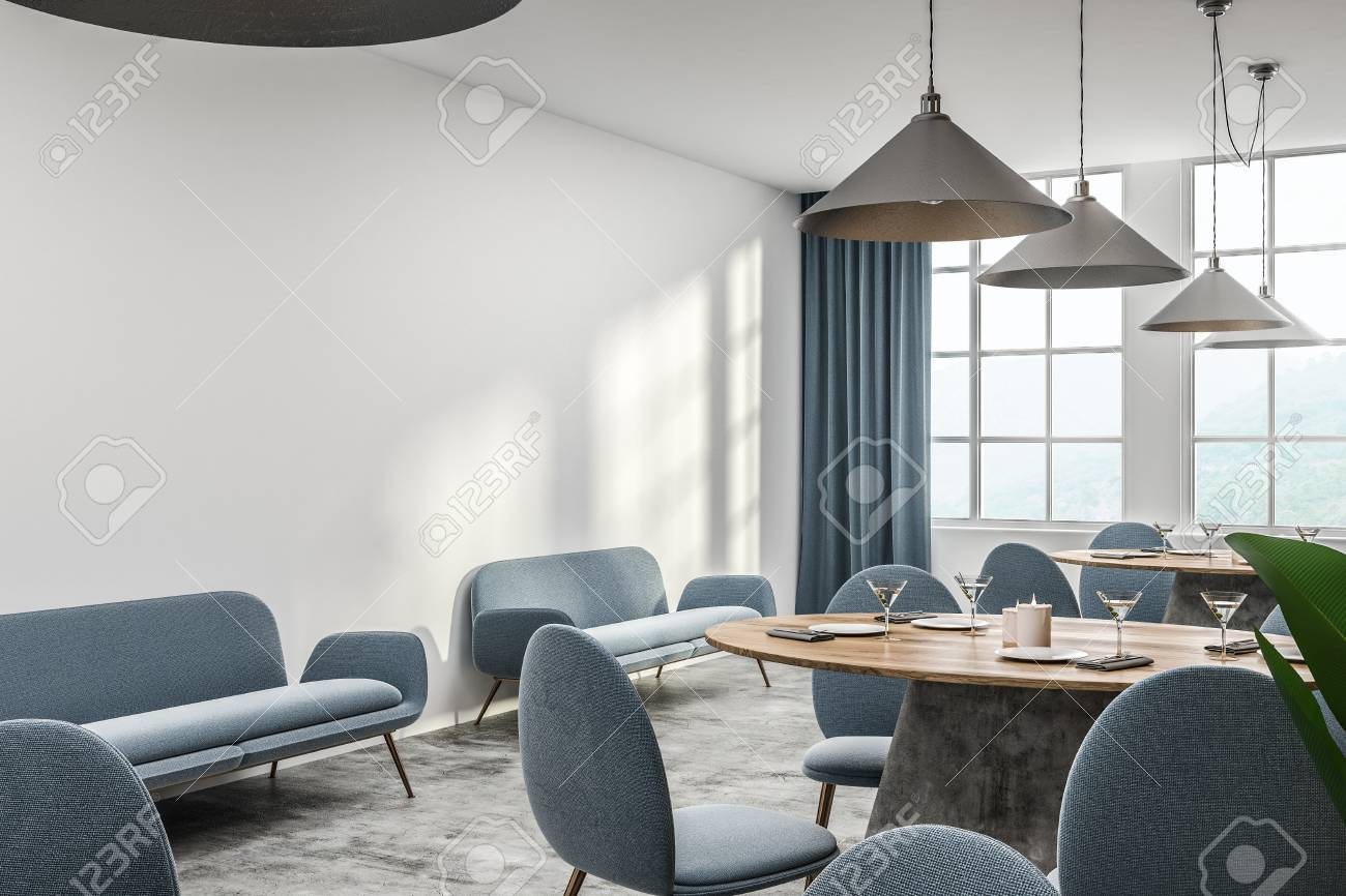 Magnificent Corner Of Modern Cafe With White Walls Concrete Floor Round Alphanode Cool Chair Designs And Ideas Alphanodeonline