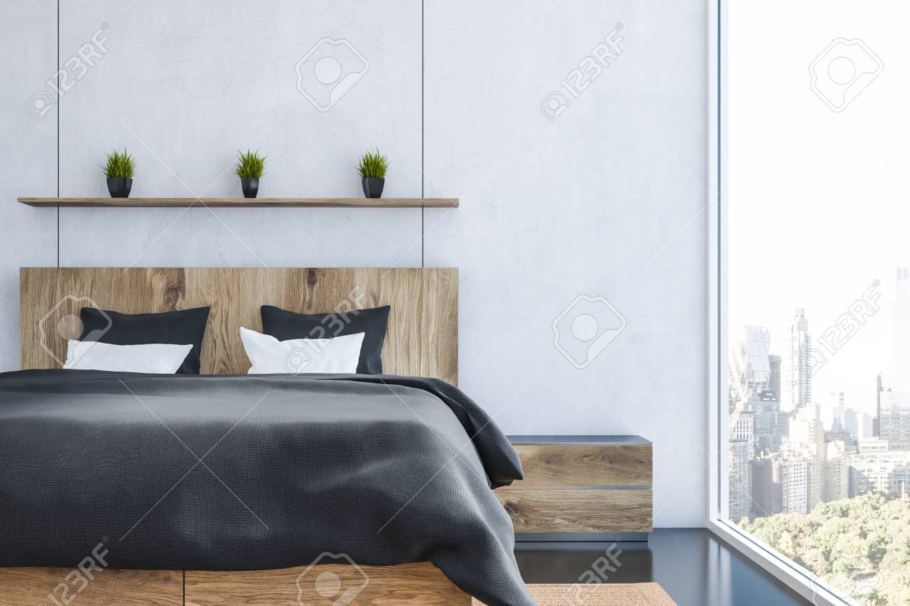 Interior Of Modern Bedroom With White Walls Black Floor Wooden Stock Photo Picture And Royalty Free Image Image 113584566