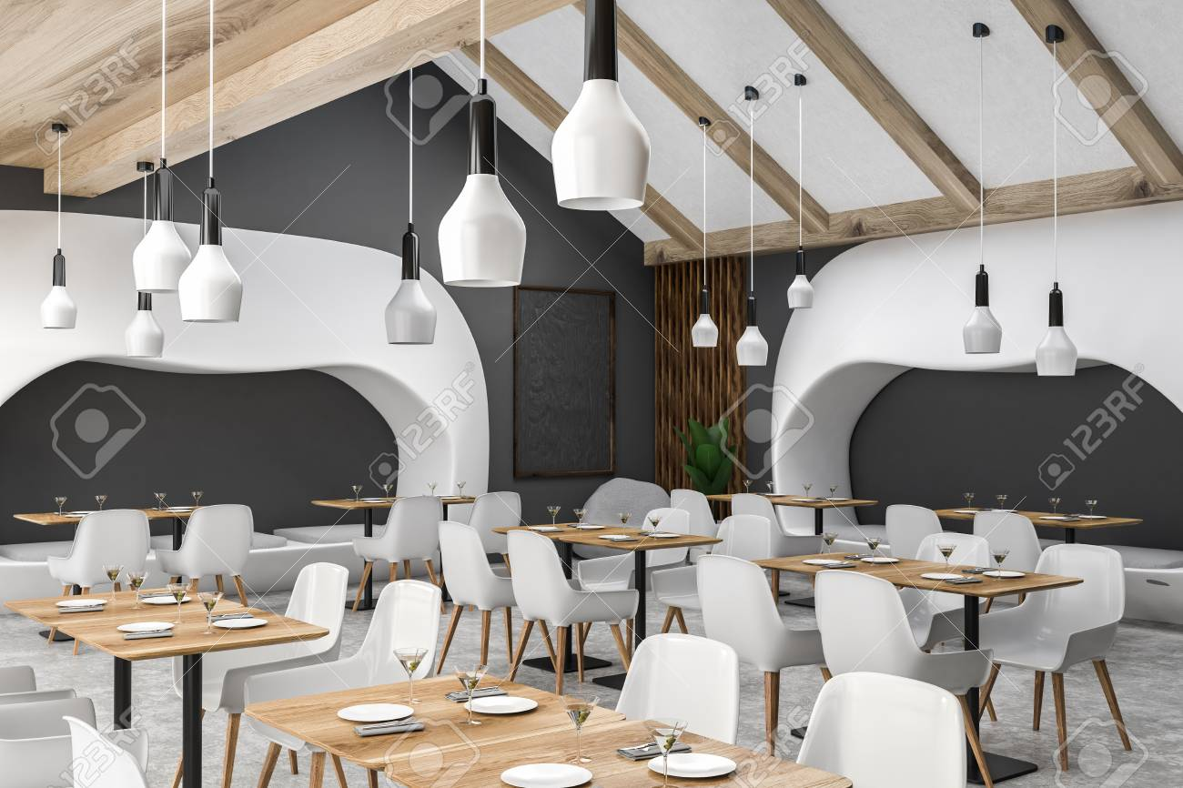 Corner of modern restaurant with gray walls, concrete floor, wooden tables with white chairs, original white sofas and blackboard in the corner. 3d