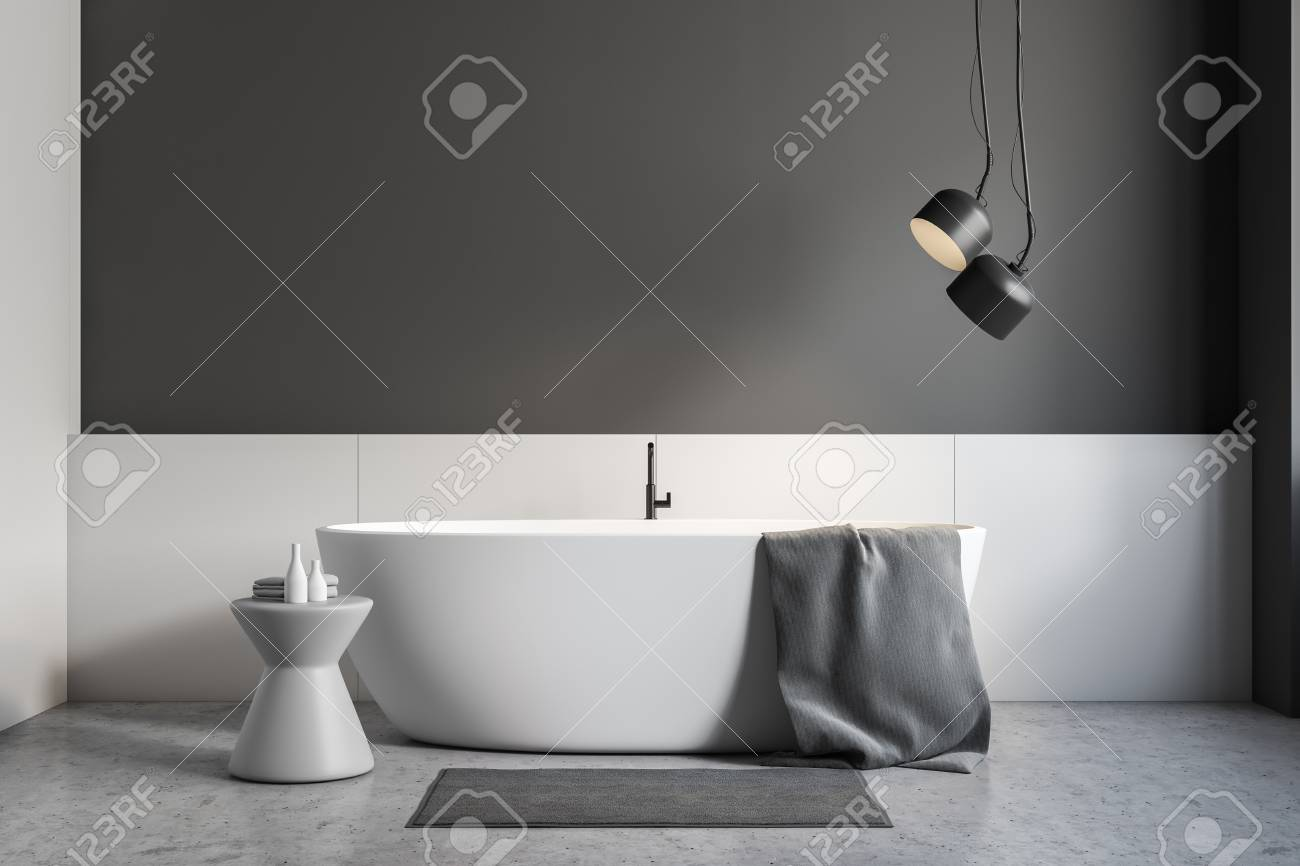 Strange Minimalistic Bathroom Interior With Gray And White Walls Concrete Floor White Bathtub With Gray Towel On It And Gray Chair 3D Rendering Caraccident5 Cool Chair Designs And Ideas Caraccident5Info
