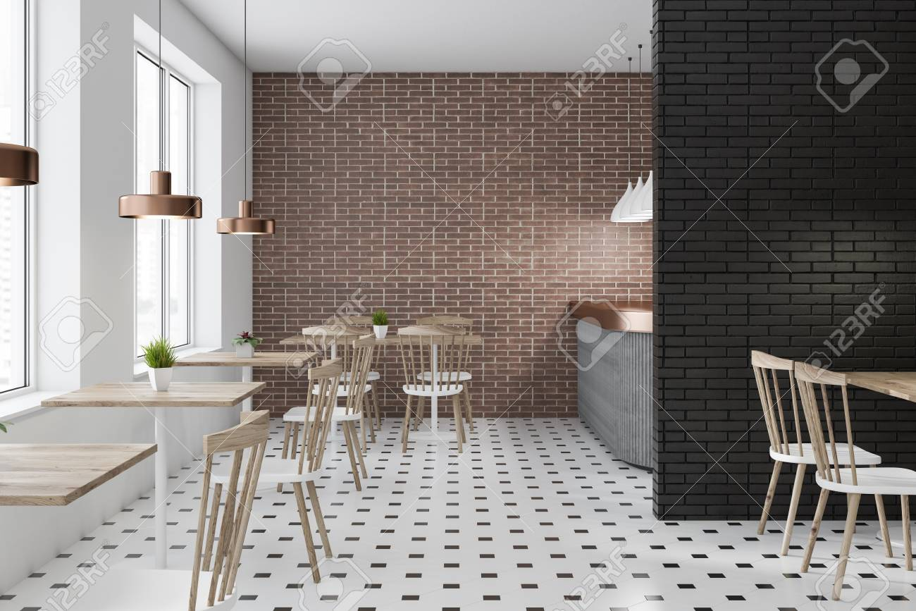Brick And Black Brick Restaurant Interior With Tiled Floor Gray Stock Photo Picture And Royalty Free Image Image 113587247