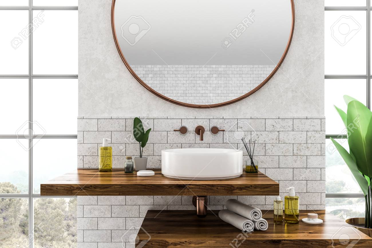 White Round Bathroom Sink Standing On Wooden Shelf With Round Stock Photo Picture And Royalty Free Image Image 113587300