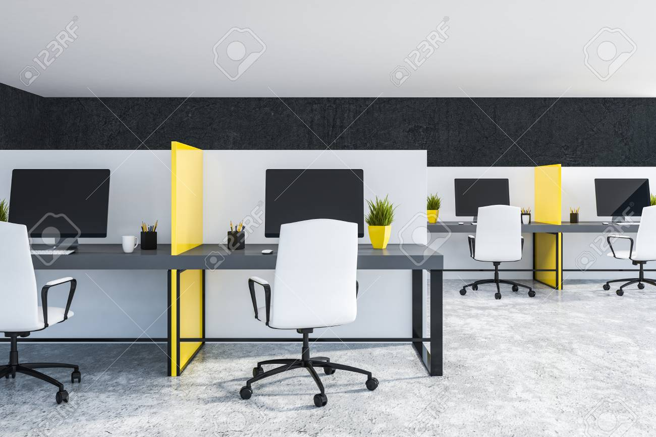 Image of: Interior Of Modern Office With Black Walls Concrete Floor Gray Stock Photo Picture And Royalty Free Image Image 113588073