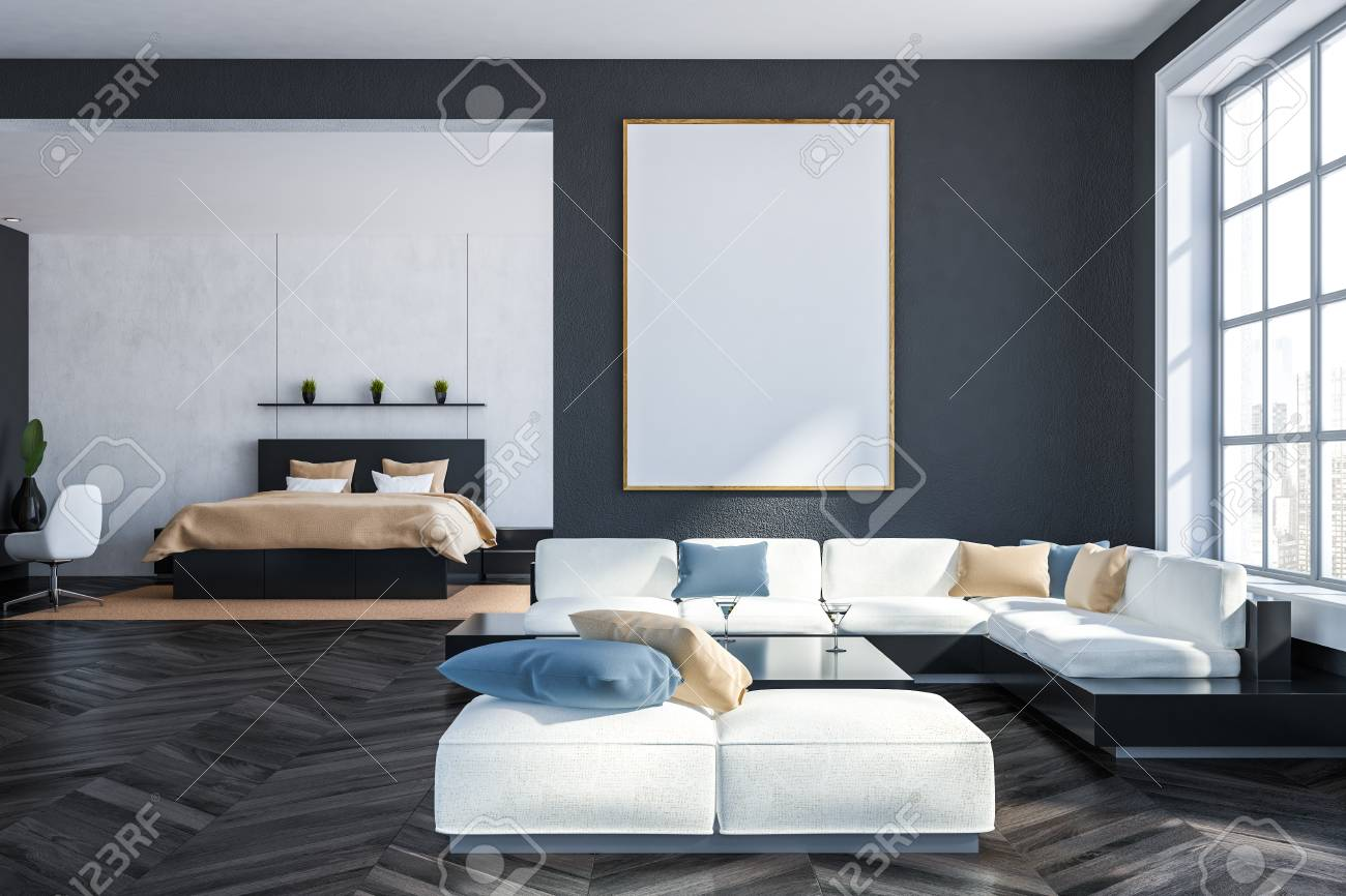 Interior Of Living Room With Gray Walls Dark Wooden Floor White