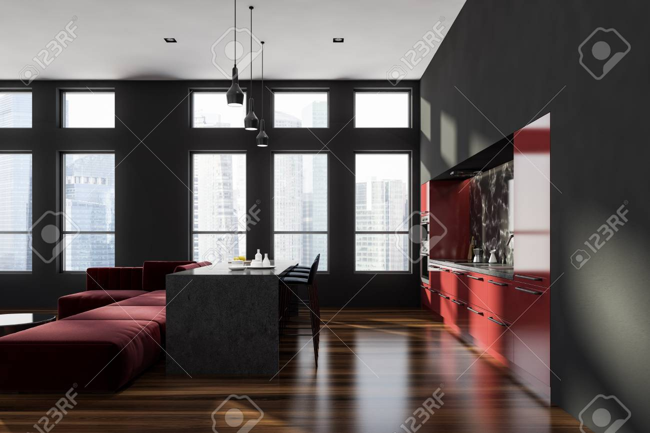Interior Of Modern Kitchen With Black And Black Marble Walls Stock Photo Picture And Royalty Free Image Image 113595411