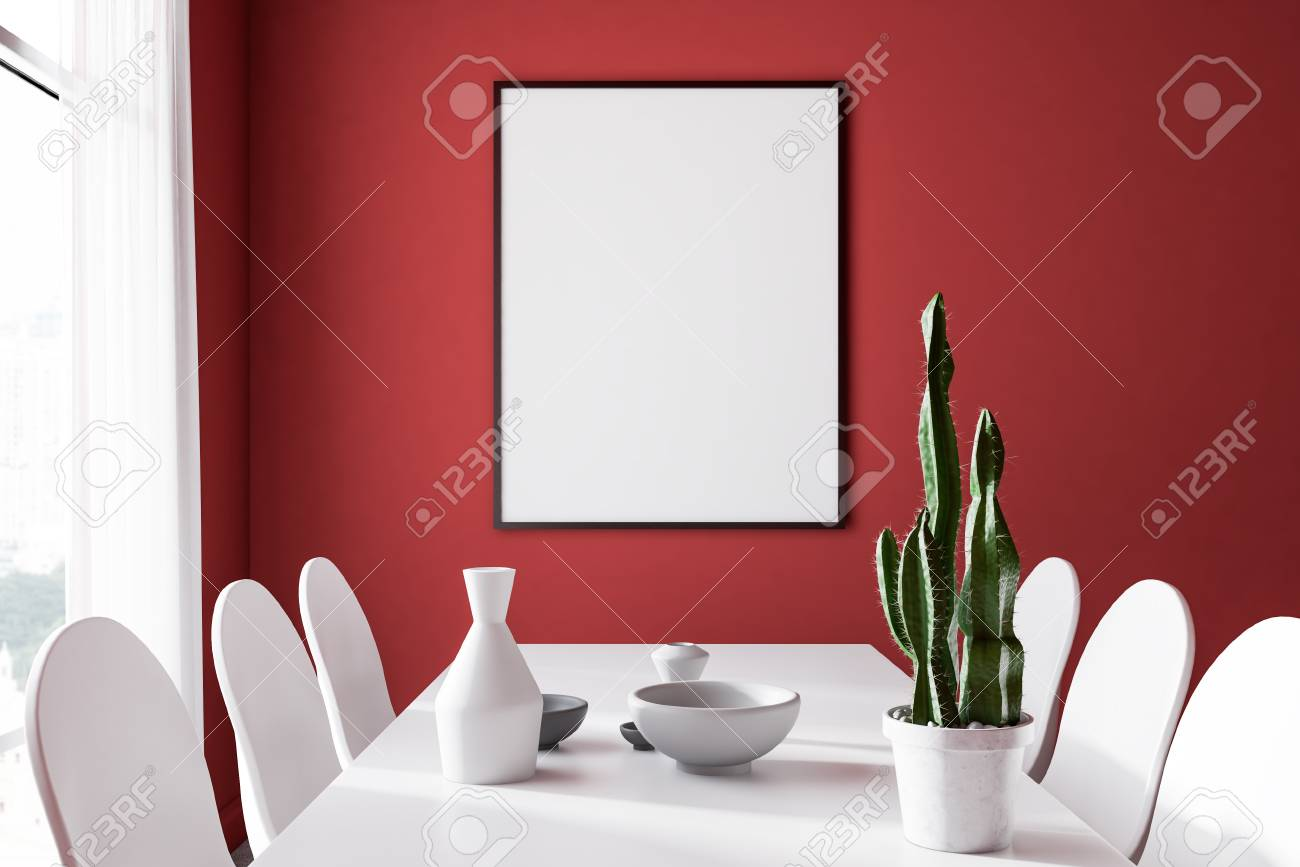Interior Of Modern Dining Room With Red Walls Concrete Floor Stock Photo Picture And Royalty Free Image Image 113595418