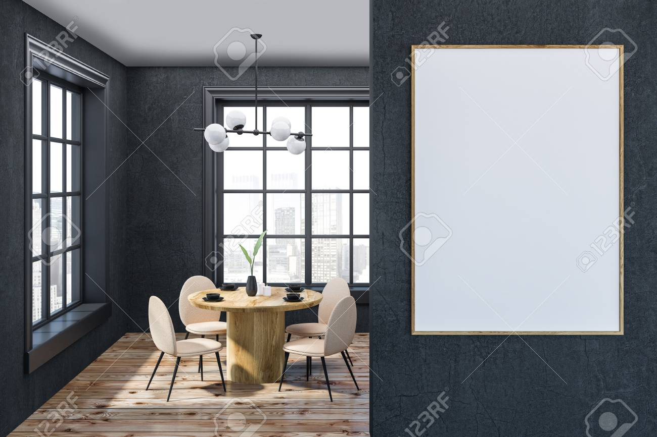 Interior Of Modern Dining Room With Gray Walls Wooden Floor Round