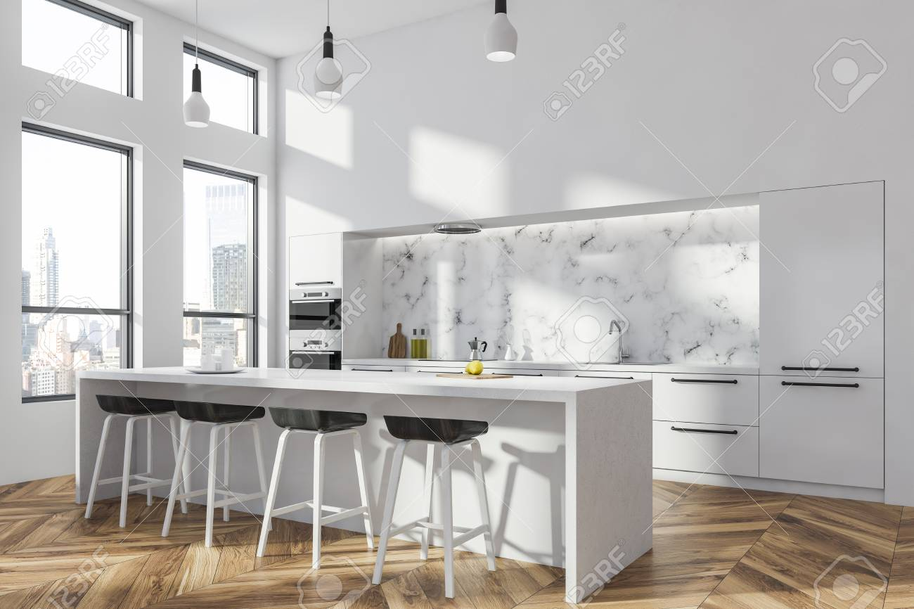 Corner of modern kitchen with white and white marble walls, wooden..