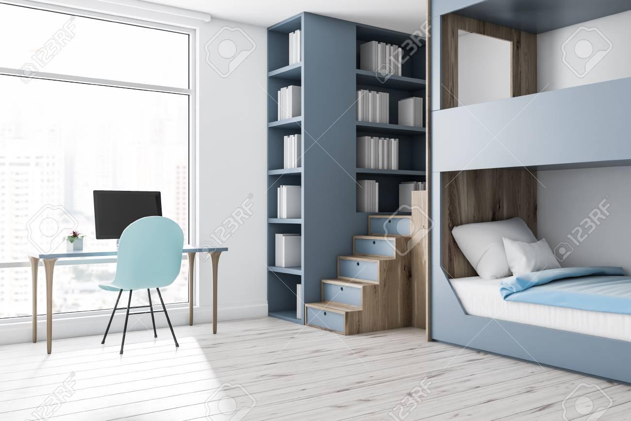 Corner Of Modern Bedroom With White Walls Wooden Floor Gray
