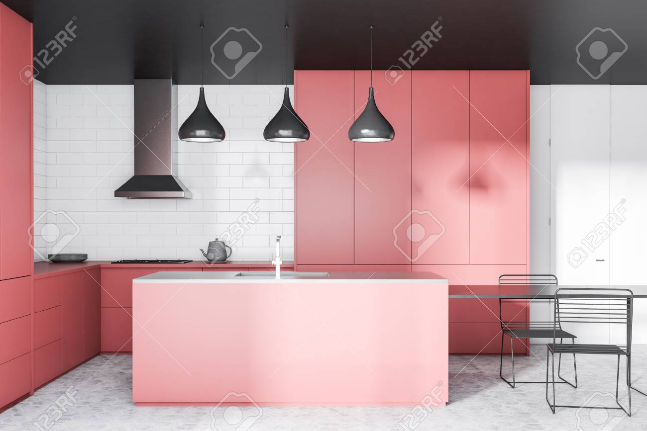 Interior Of Modern Kitchen With White Brick Walls Concrete Floor Stock Photo Picture And Royalty Free Image Image 113595776