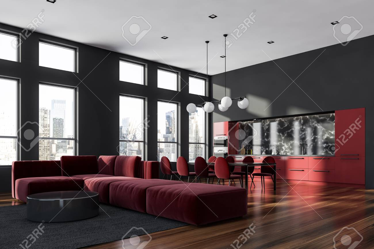 Corner Of Living Room In Modern Studio Apartment With Gray Walls