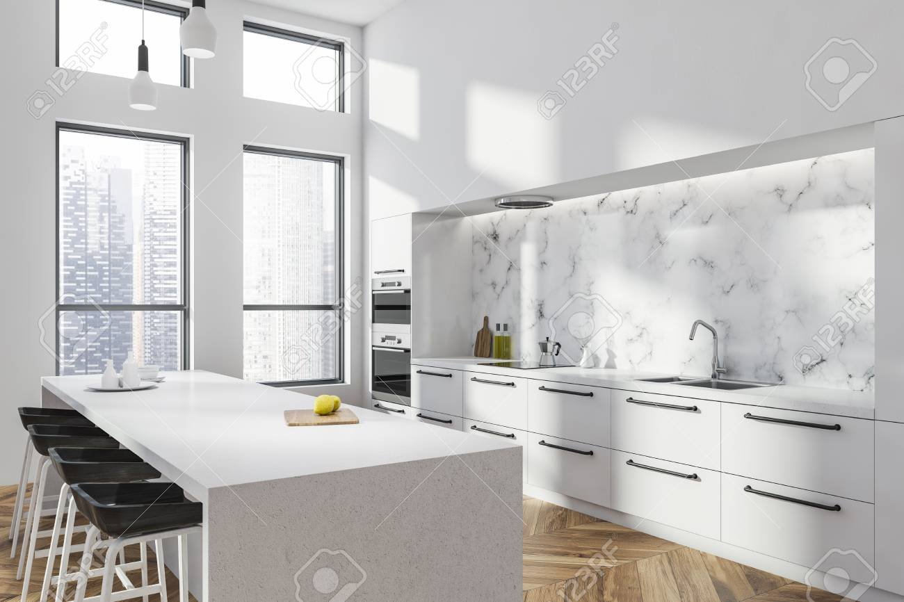 Corner Of Modern Kitchen With White And White Marble Walls Wooden Stock Photo Picture And Royalty Free Image Image 113596327