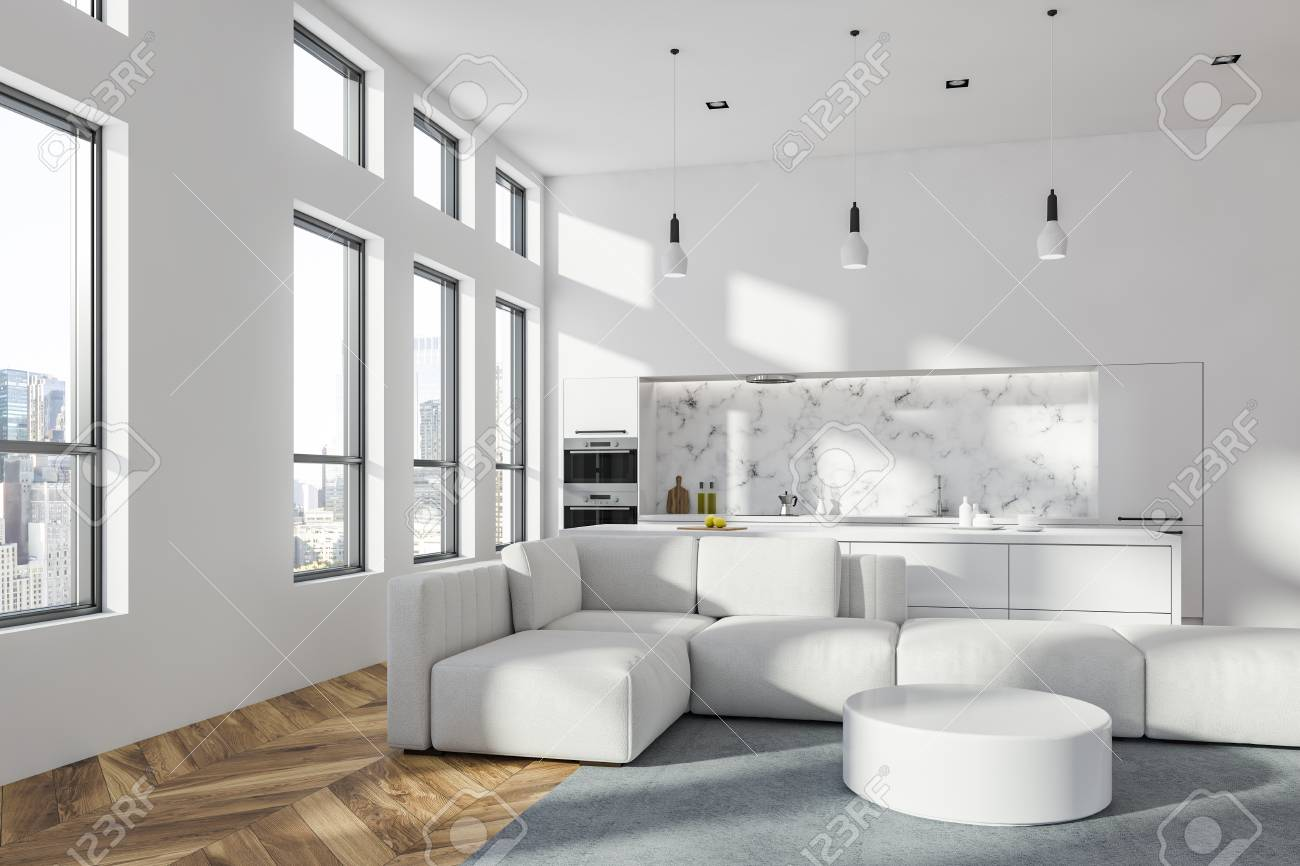 White living room interior in modern studio apartment with soft..