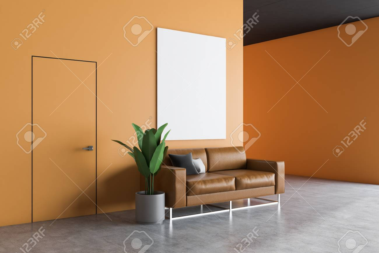 Office waiting room interior with orange walls, concrete floor,..