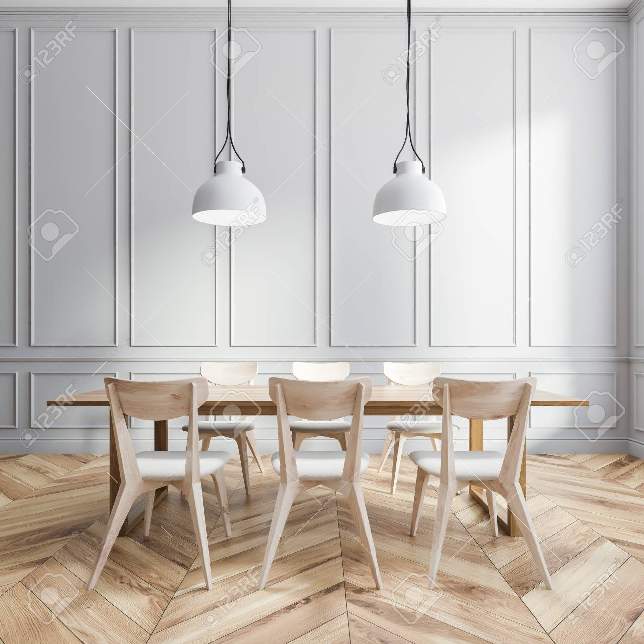 Interior Of Dining Room With Gray Panel Walls Wooden Floor Stock Photo Picture And Royalty Free Image Image 115166957