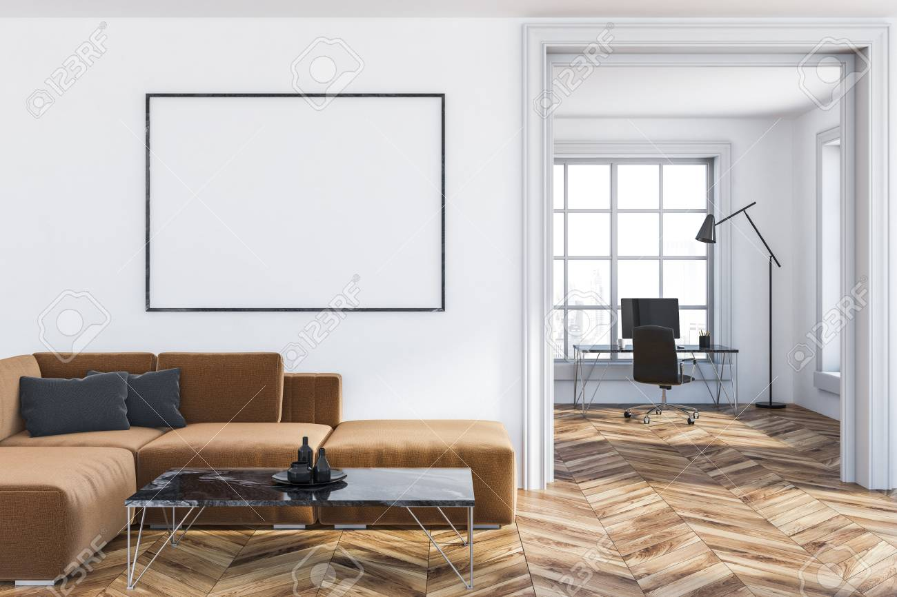 Groovy Interior Of Living Room With White Walls Wooden Floor Brown Theyellowbook Wood Chair Design Ideas Theyellowbookinfo