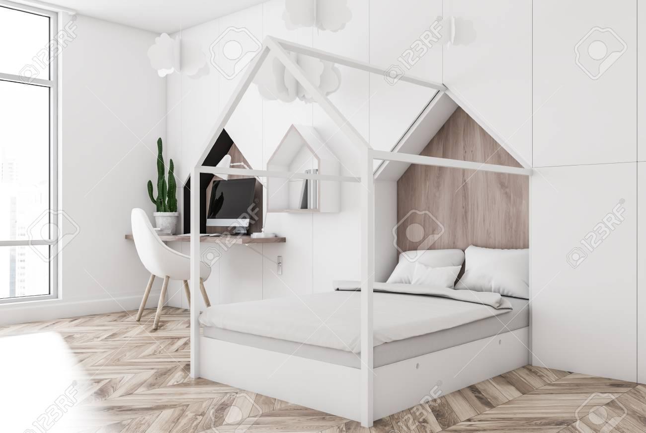 Corner Of Kids Bedroom With White Walls Wooden Floor Stylish