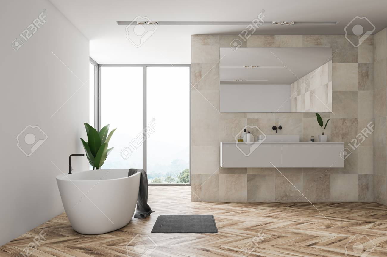 Interior Of Bathroom With Beige Tile Walls Wooden Floor Large Stock Photo Picture And Royalty Free Image Image 115169244