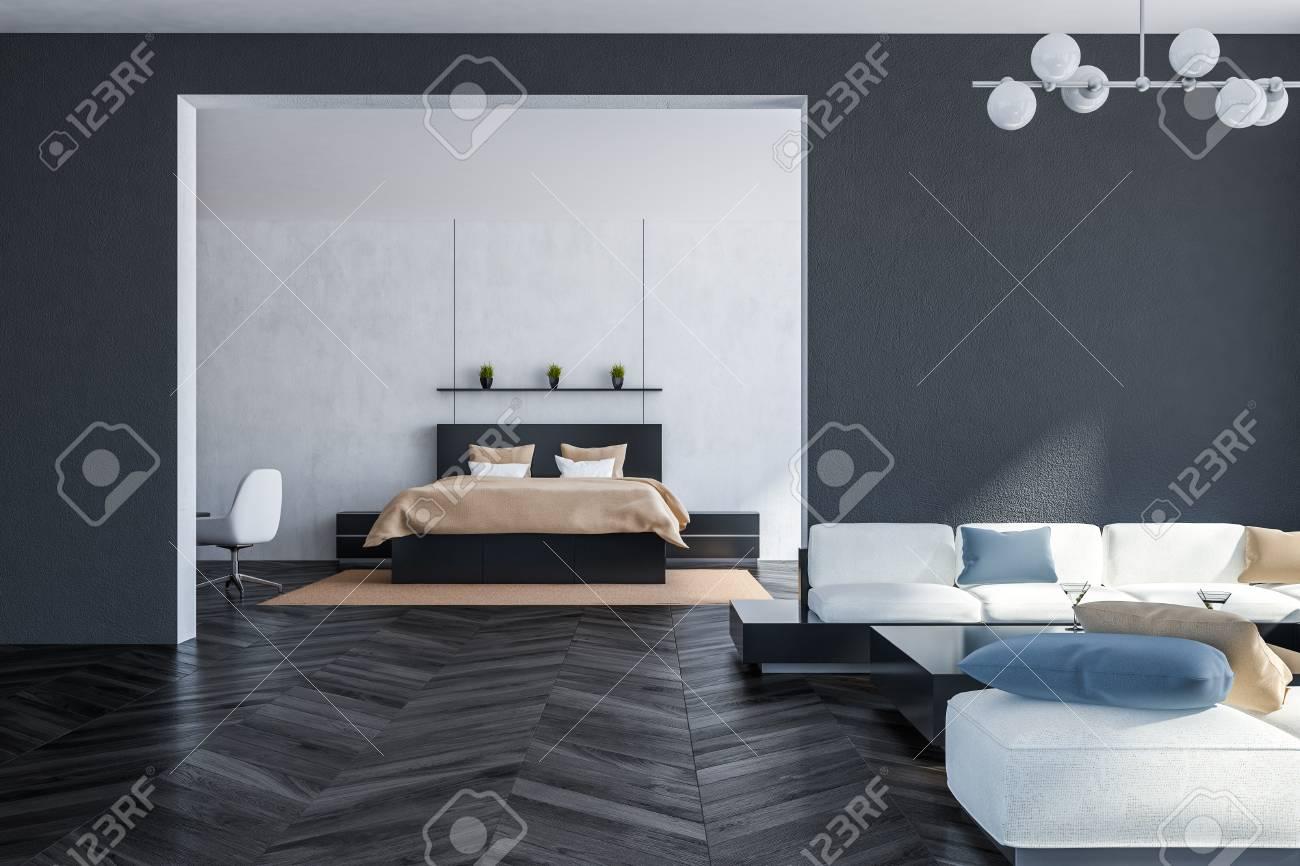 Interior Of Living Room With Gray Walls Dark Wooden Floor White