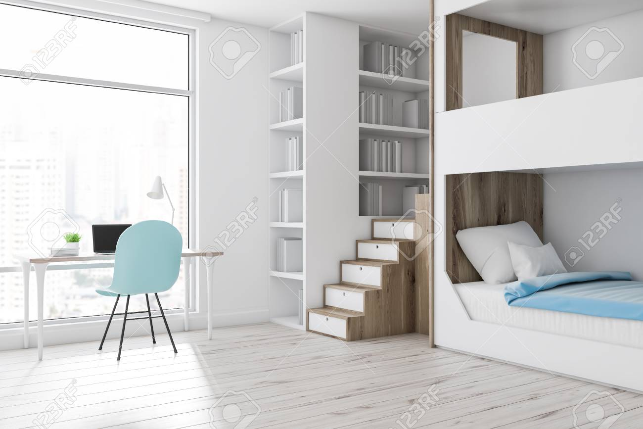 Corner Of Modern Bedroom With White Walls Wooden Floor White