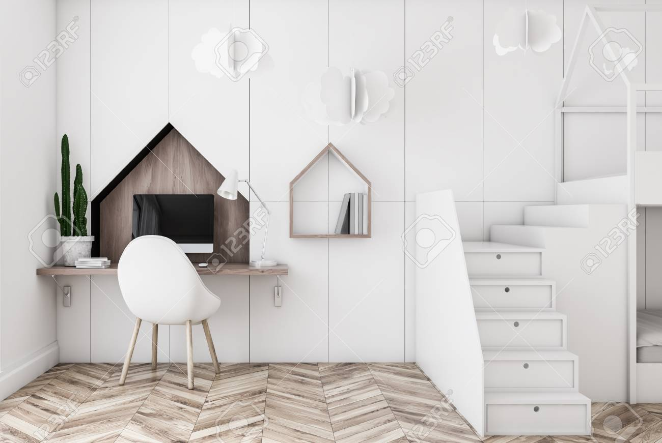 Interior Of Home Office In Kids Room With White Walls Wooden