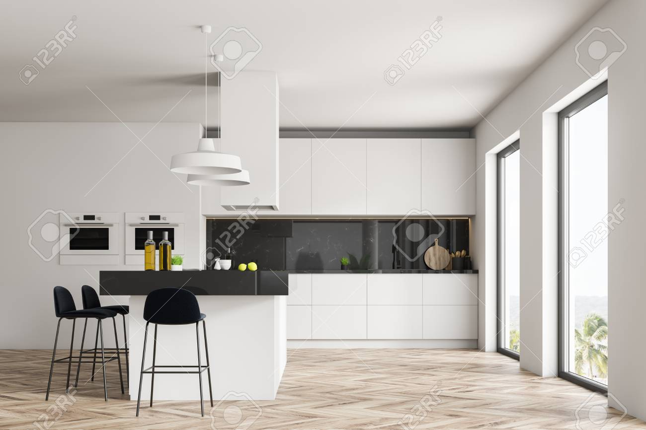 Interior Of Kitchen With White And Black Marble Walls Wooden Stock Photo Picture And Royalty Free Image Image 115171166