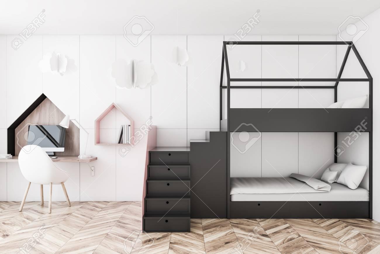 Interior Of Kids Bedroom With White Walls Wooden Floor Gray