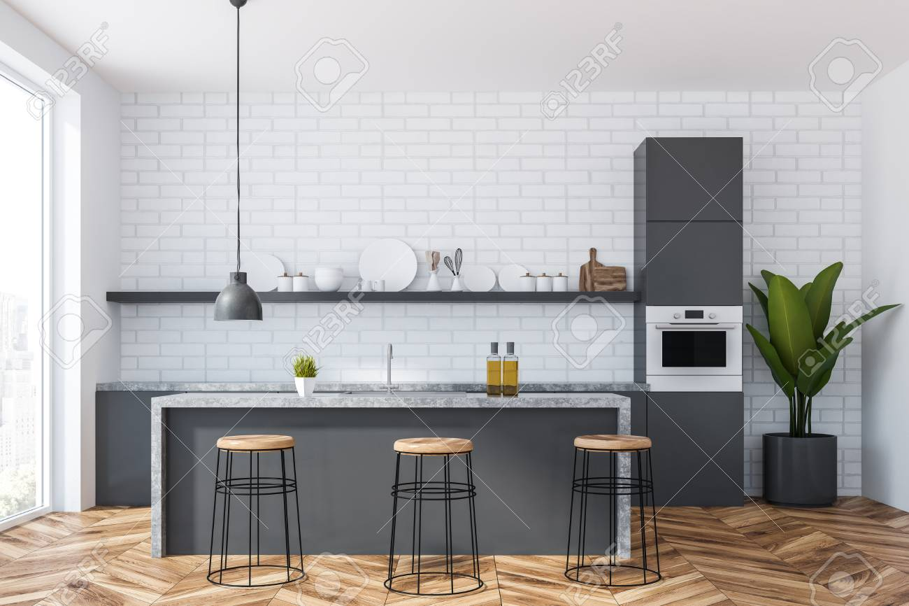 Interior Of Kitchen With White Brick Walls Wooden Floor Panoramic Stock Photo Picture And Royalty Free Image Image 115171602