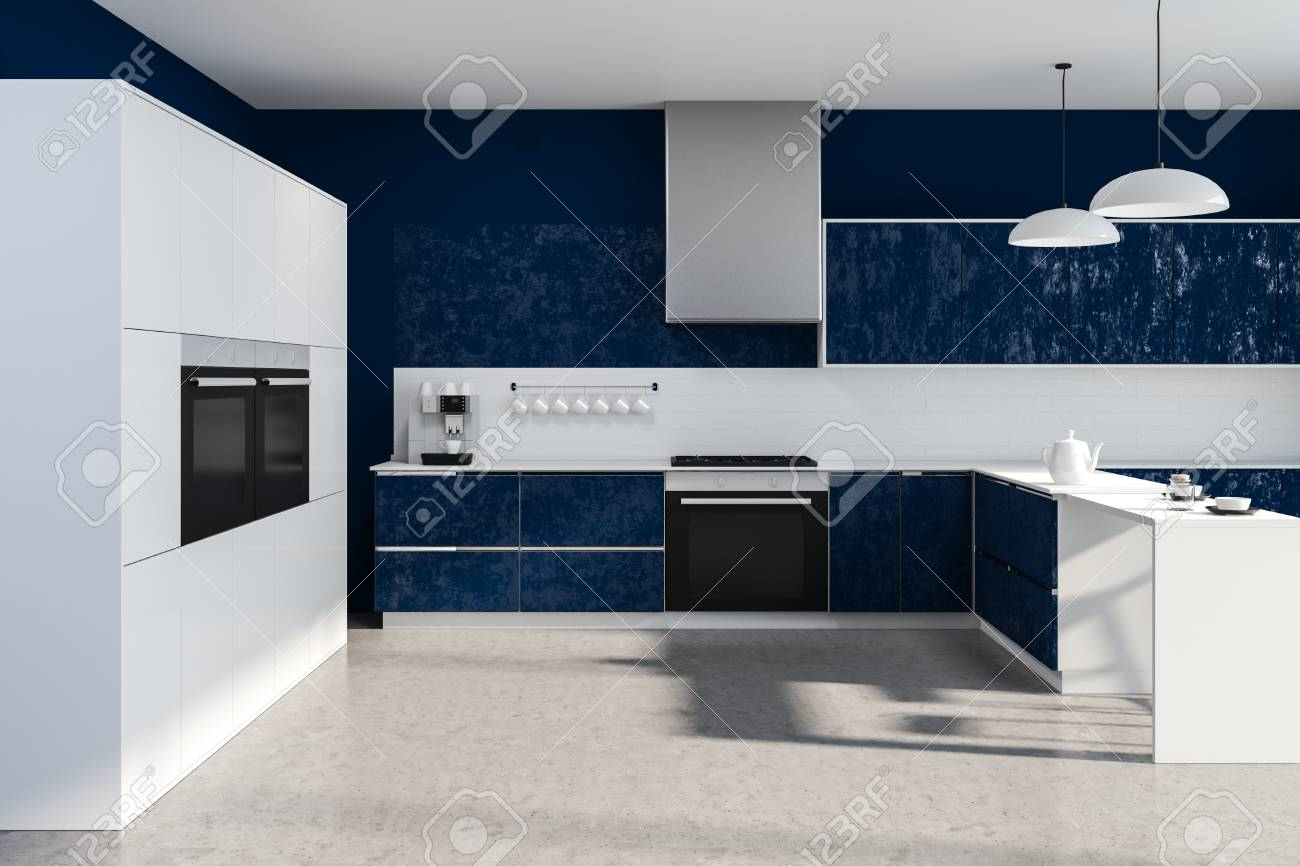 Interior Of Modern Kitchen With Blue Walls Stone Floor Dark Stock Photo Picture And Royalty Free Image 115172322