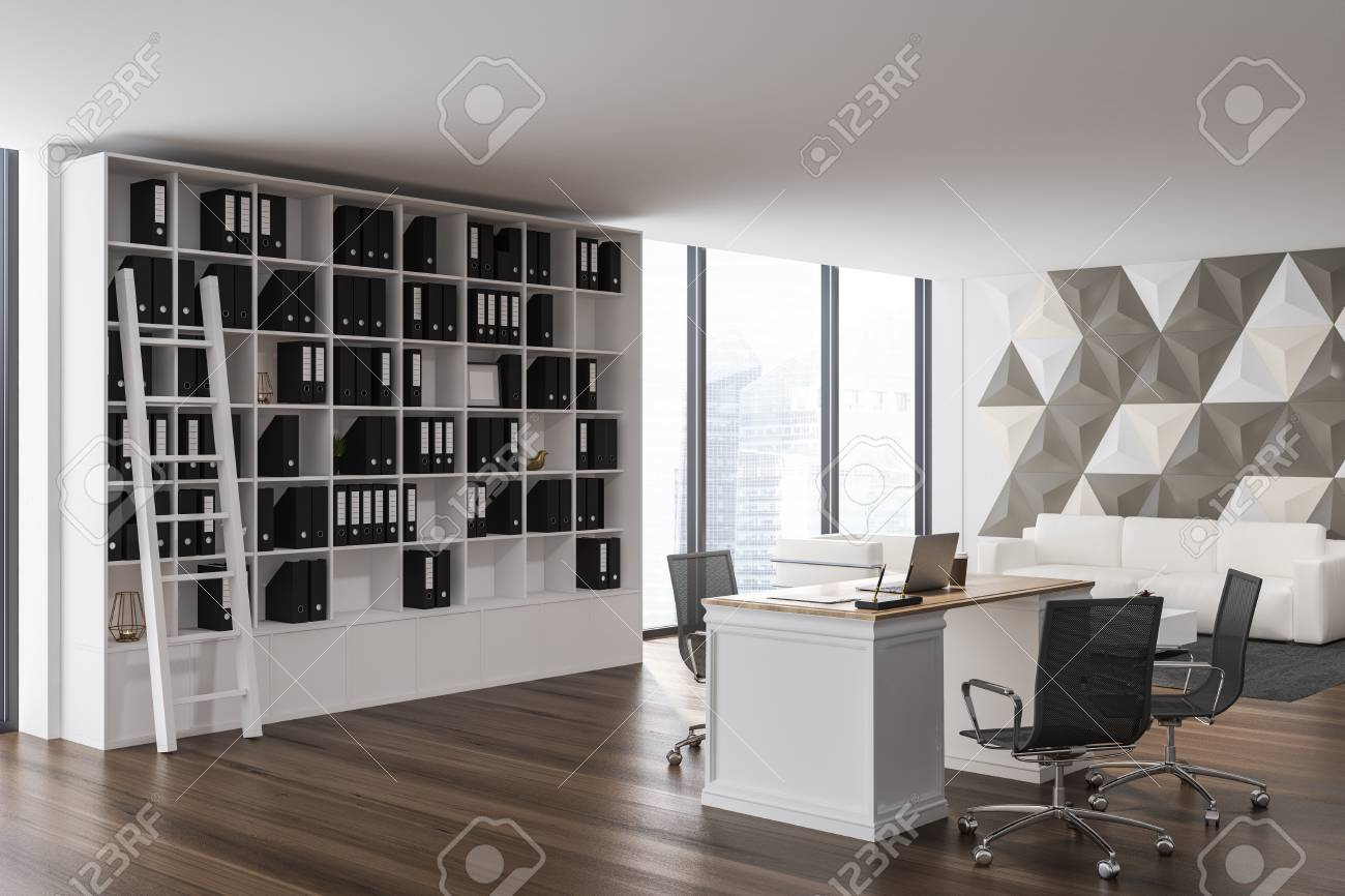 Corner Of Ceo Office With Geometric Pattern Walls Wooden And