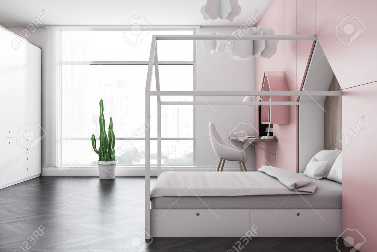 Side View Of Kids Bedroom With White And Pink Walls, Dark Wooden ...